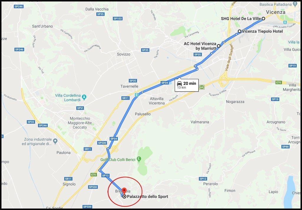 Cartina trasporti hotel palasport
