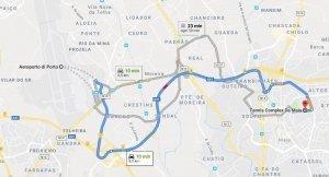 Distanze tra Porto e Maia