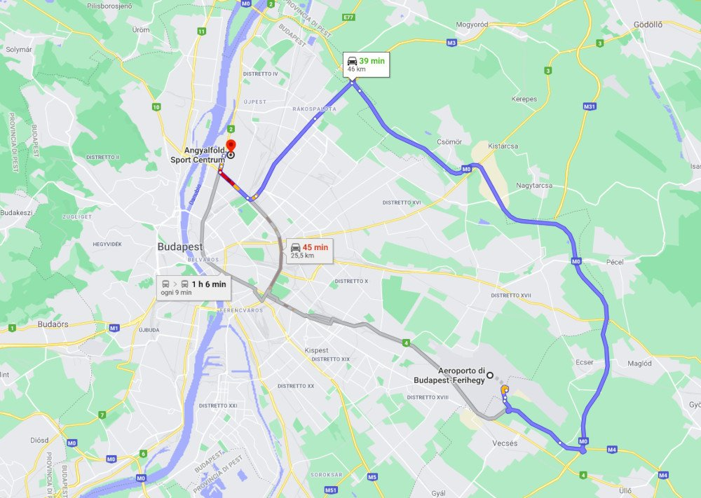 Map Budapest airport to hotel